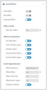 تنظیمات بخش scroll effect اسلایدر رولوشن