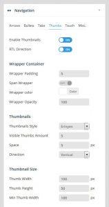 تنظیمات بخش Navigation رولوشن اسلایدر