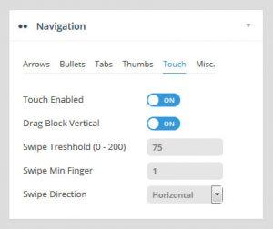 تنظیمات اسلایدر رولوشن Navigation Touch