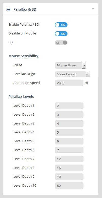 تنظیمات parallax اسلایدر رولوشن