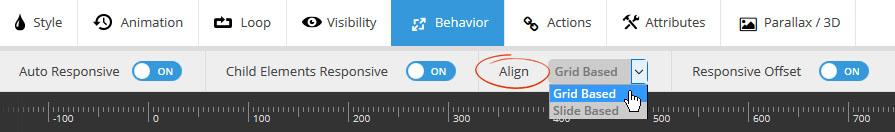 تنظیمات align کردن اسلایدر رولوشن