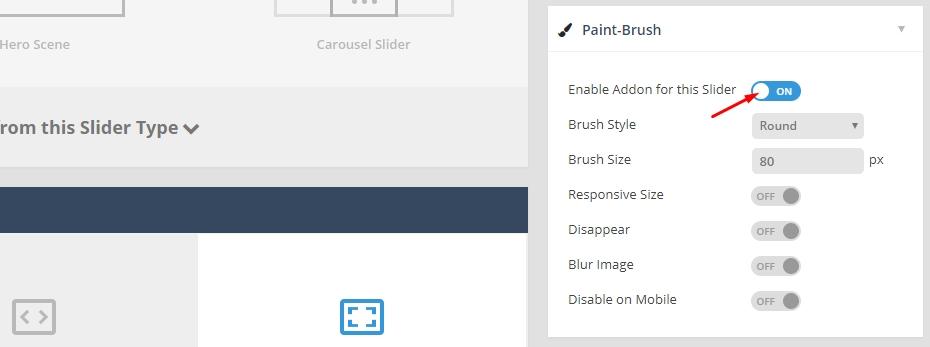 فعال کردن دمو paintbrush برای افزونه اسلایدر رولوشن
