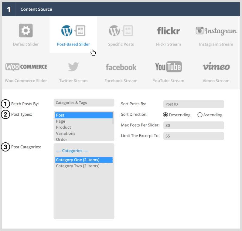 انتخاب دسته بندی و تگ برای ساخت Post Based Slider