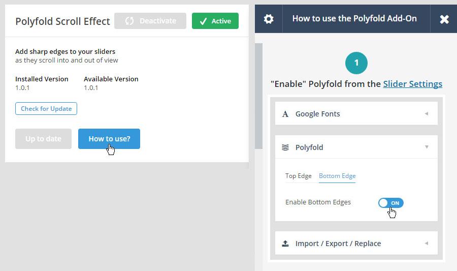 فعال سازی افزونه کمکی Polyfold Scroll Effect
