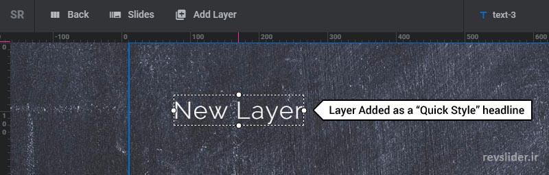 اضافه کردن لایه ی تیتر در اسلایدر رولوشن