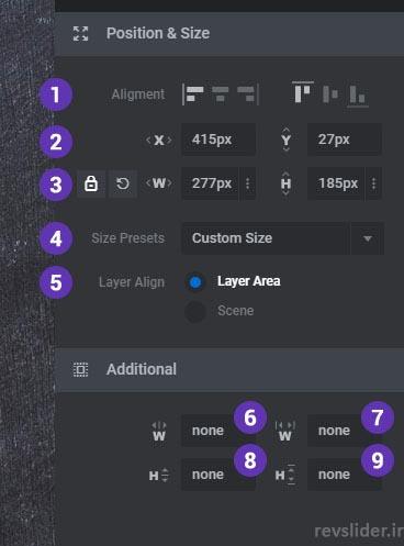 تغییر Size & Position در اسلایدر رولوشن ورژن ۶