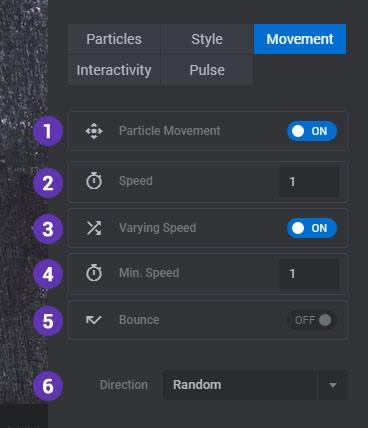 تنظیمات حرکت ذرات پارتیکل