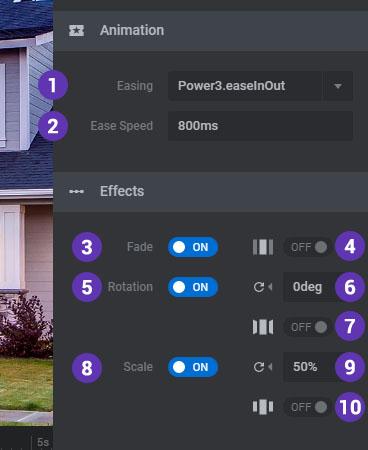 تنظیمات انیمیشن و افکت اسلایدر های چرخشی
