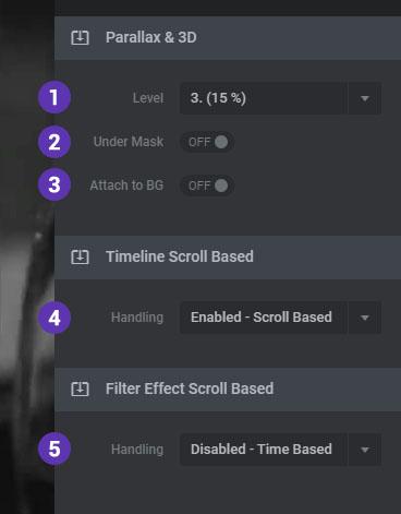 تنظیمات لایه های اسلایدر در On Scroll