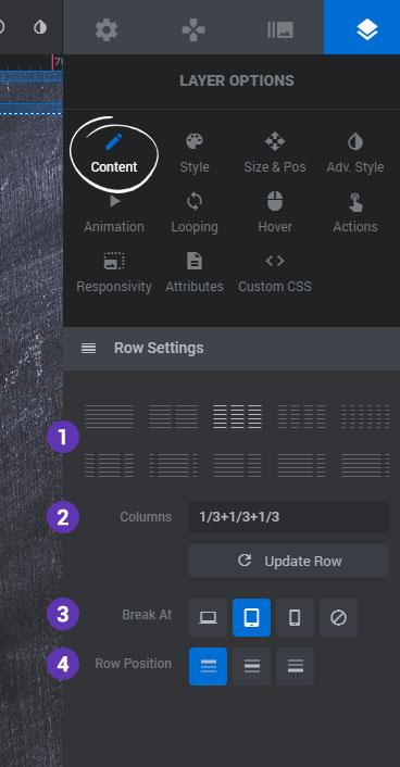 تنظیمات ردیف و ستون در اسلایدر