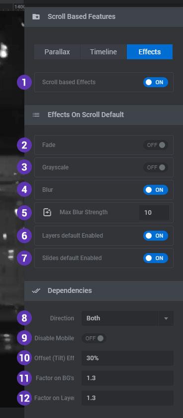 تظیمات Effects در اسلایدر رولوشن وردپرس